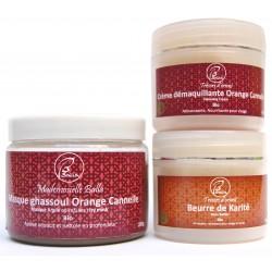 Kit Beauté Soin Bio Masque ghassoul parfumé, Crème Orange-Canelle, Beurre Karité