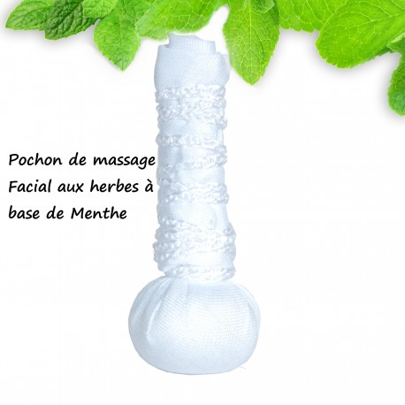 Pochon de Massage Facial aux herbes à base de Menthe