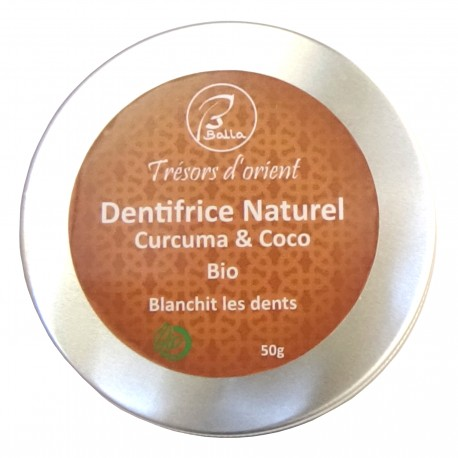 Dentifrice Curuma coco bio et naturel Blanchit les dents 50g
