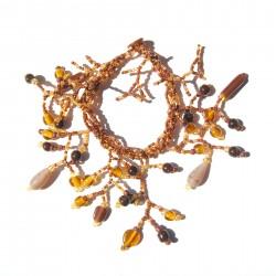 Bracelet en perles de rocaille Marron et Doré 100% naturelles