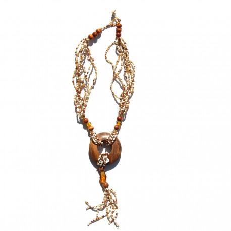 Collier long en perles de rocaille blanches 100% naturelles