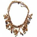 Collier court en perles de rocaille Marrons100% naturelles