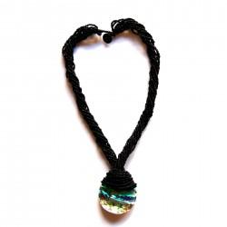 Collier long en perles de rocaille Noires 100% naturelles