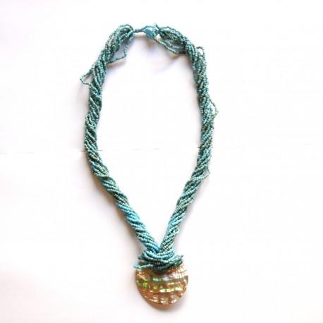 Collier long en perles de rocaille Bleu 100% naturelles