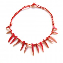 Collier court perles de Rocaille et coquillage rouge 100% naturelle