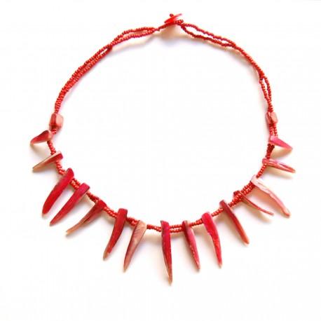 Collier court perles de Rocaille et coquillage rouge 100% naturelle