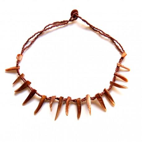 Collier court perles de Rocaille et coquillage Marron 100% naturelle
