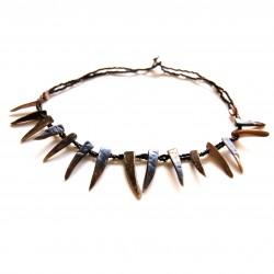 Collier court perles de Rocaille et coquillage Noir100% naturelle